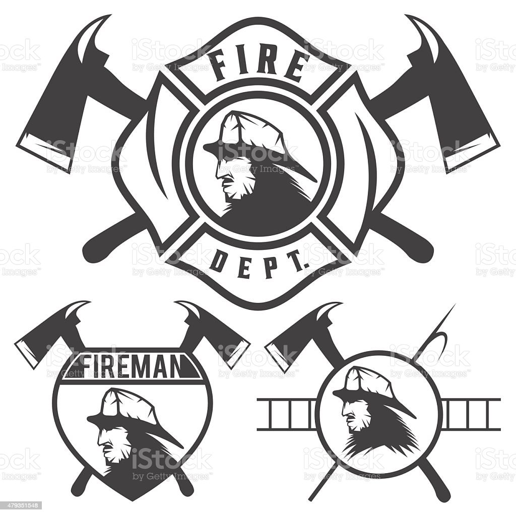 Set Of Fire Department Emblems And Badges Stock Vector Art