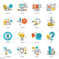 Set Of Flat Line Design Business Icons stock vector art ...