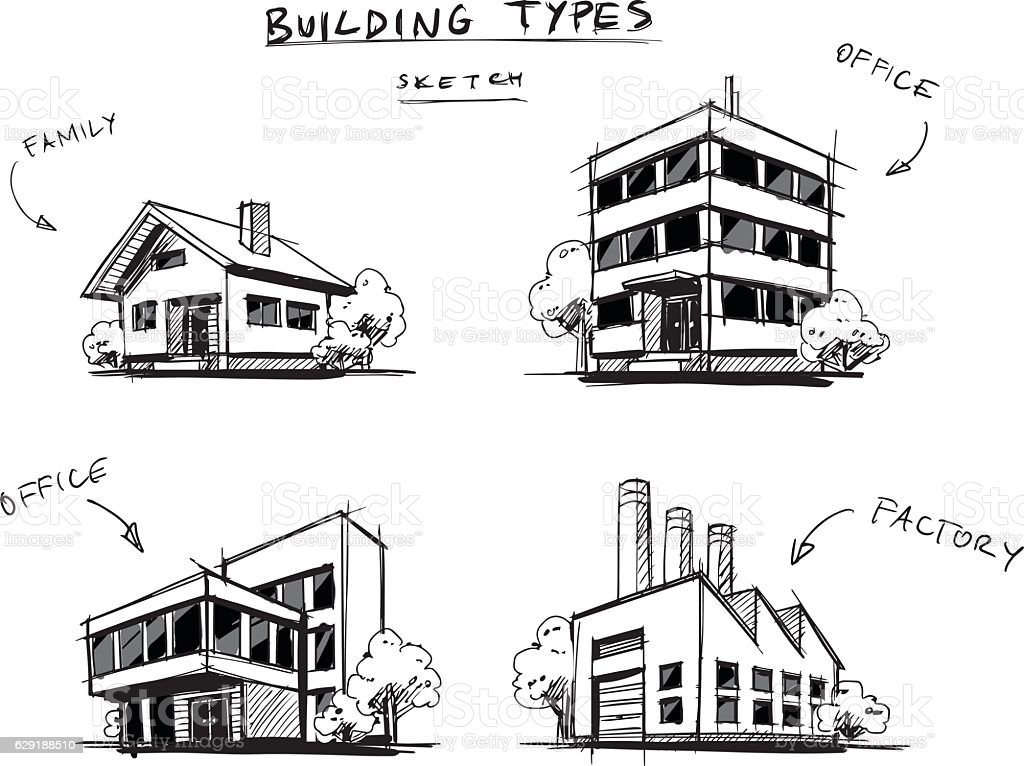 Set Of Four Buildings Types Hand Drawn Cartoon