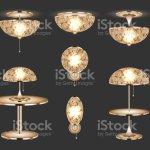 Set Of Gold Table Lamps Lamps Interior Elements Night Light Sconces Oldstyle Chandelier Decorative Elegant Luxury Vintage Chandelier Luster Design Decor Accessory For Home Vector Illustration Stock Illustration Download Image Now