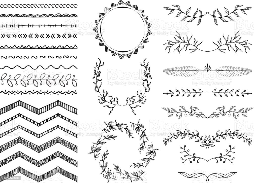 Set Of Handdrawn Seamless Doodle Borders Sketch Style