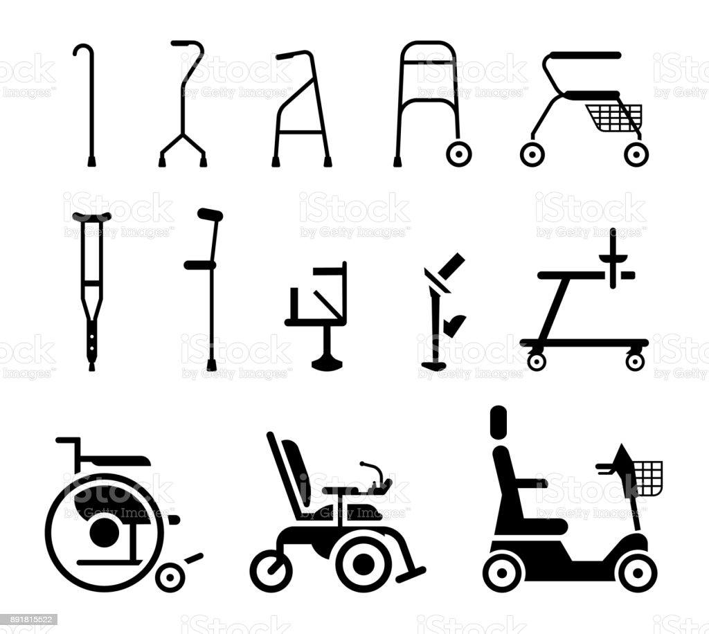 Set Of Icons That Represent Orthopedic Equipment