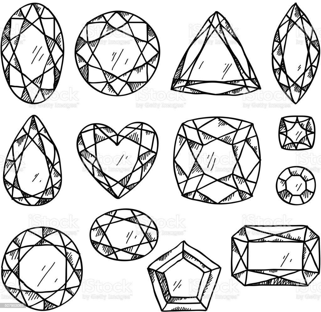 Set Of Jewels Hand Drawn Gemstones Sketch Style