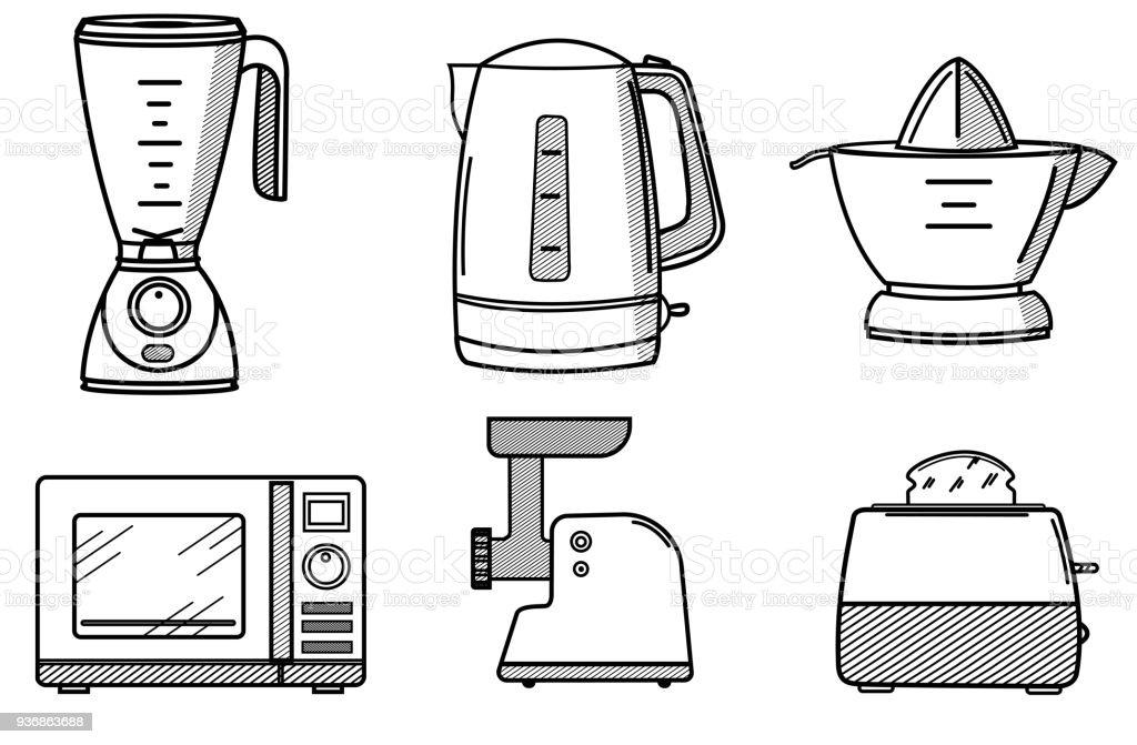 kitchen tool set sink refinishing porcelain 線條藝術風格的廚房用具集向量插圖及更多住宅廚房圖片936863688 istock 線條藝術風格的廚房用具集免版稅線條藝術風格的廚房用具集