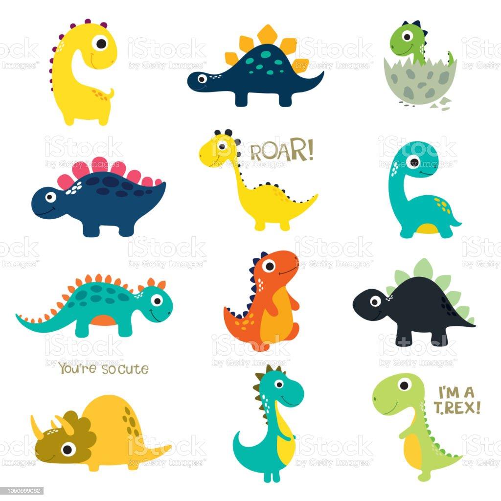 一套可愛的小恐龍向量圖形及更多三角龍屬 - 角龍下目圖片 - iStock
