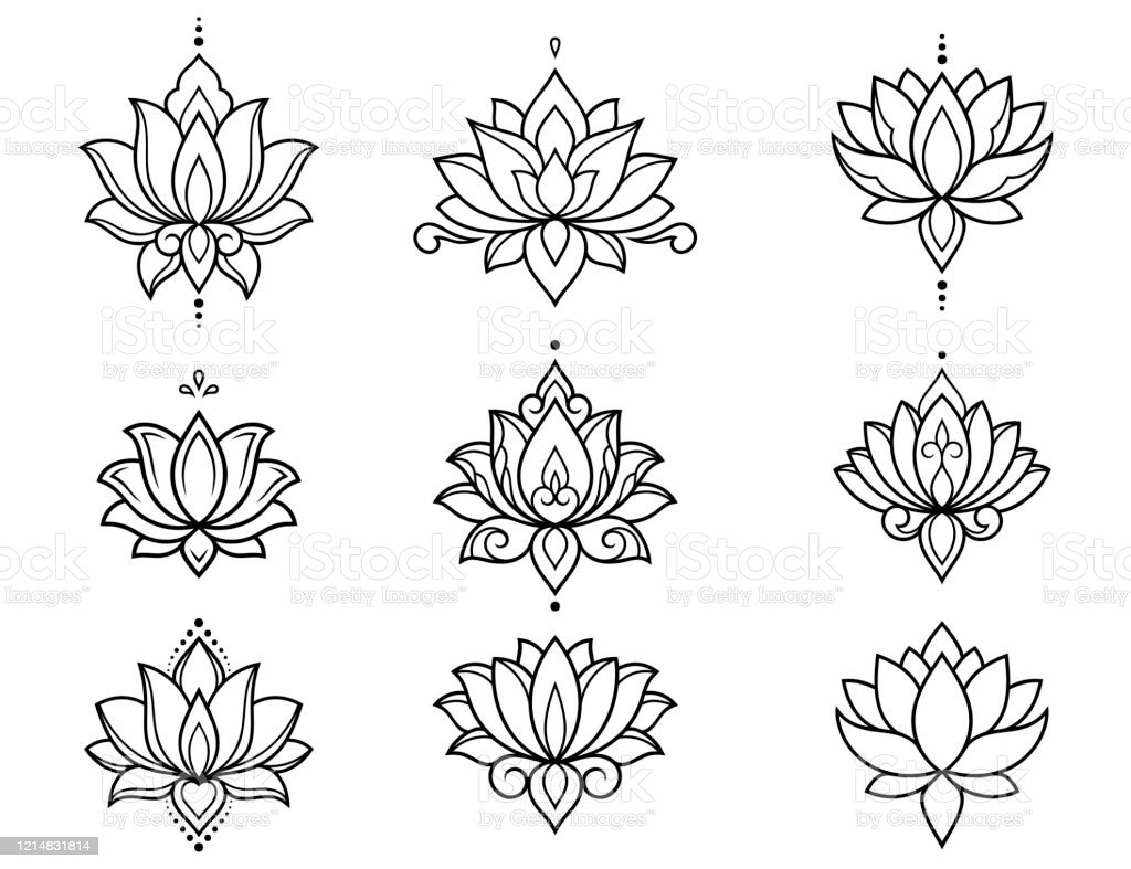 Set Of Lotus Mehndi Flower Pattern For Henna Drawing And
