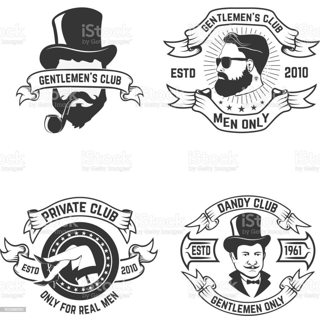 Set Of Mens Club Labels Private Mens Club Design Element