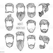 juego de peinados bigotes barbas