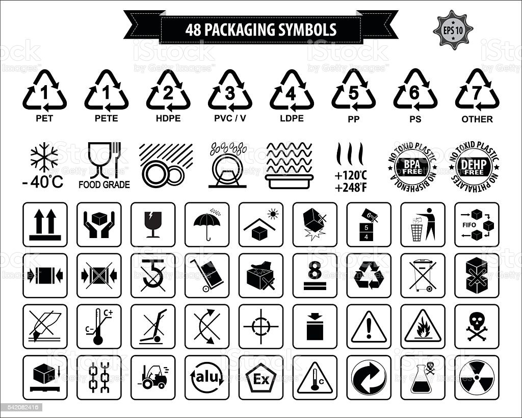 Set Of Packaging Symbols Stock Vector Art & More Images of