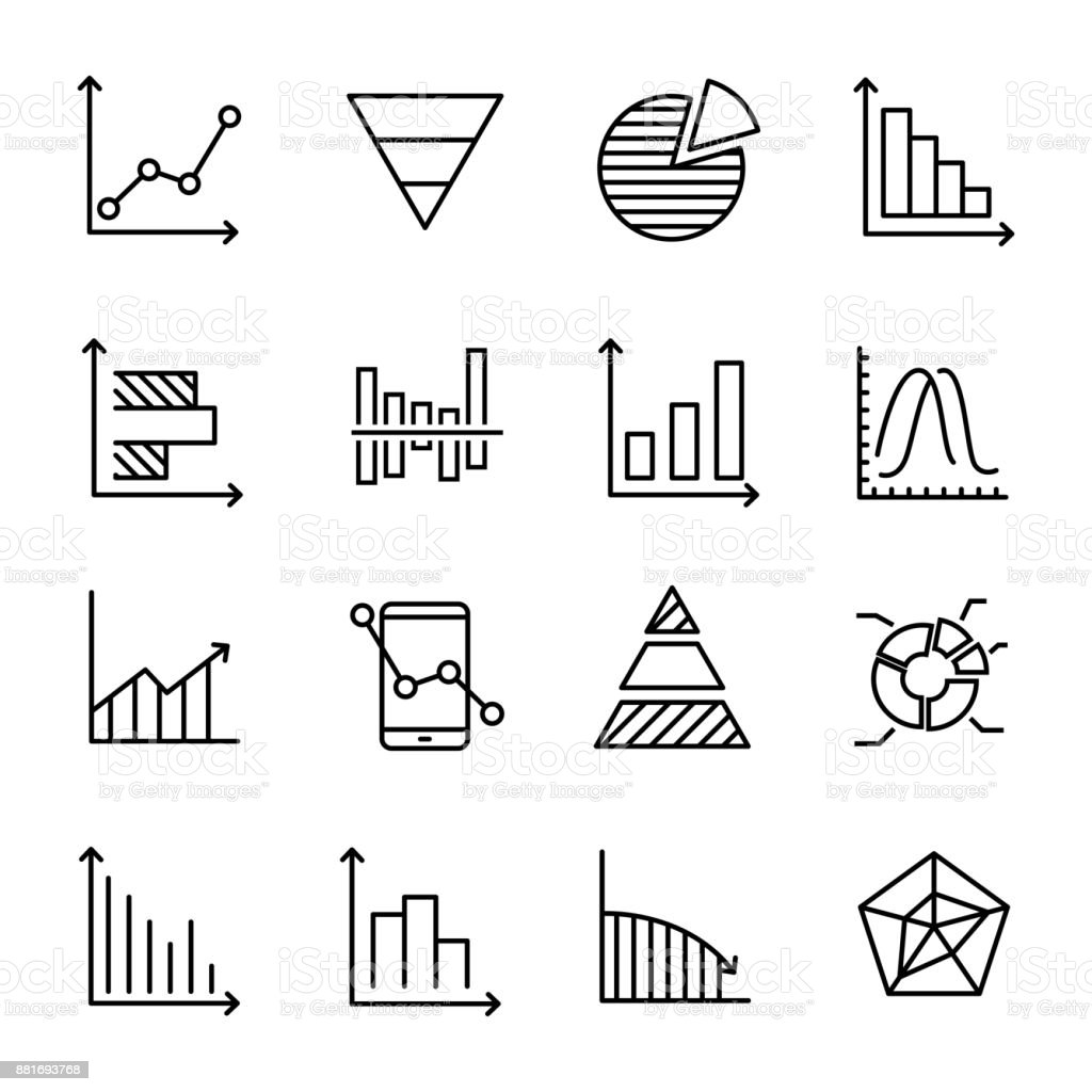 Set Of Premium Diagram Icons In Line Style Stock
