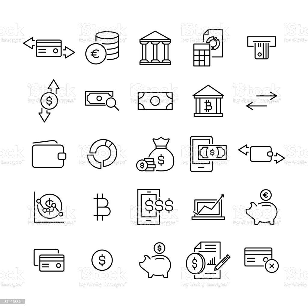 Set Of Premium Money Icons In Line Style Stock