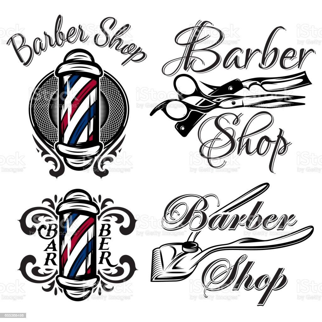 set of retro barber