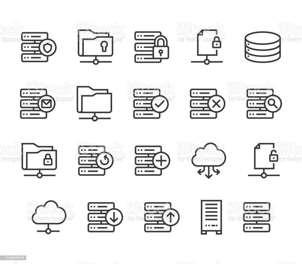 Set Of Server Icons Cloud Database Editable Stroke 48x48