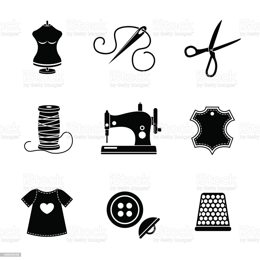 Set Of Sewing Icons Machine Scissors Thread Leather Tag