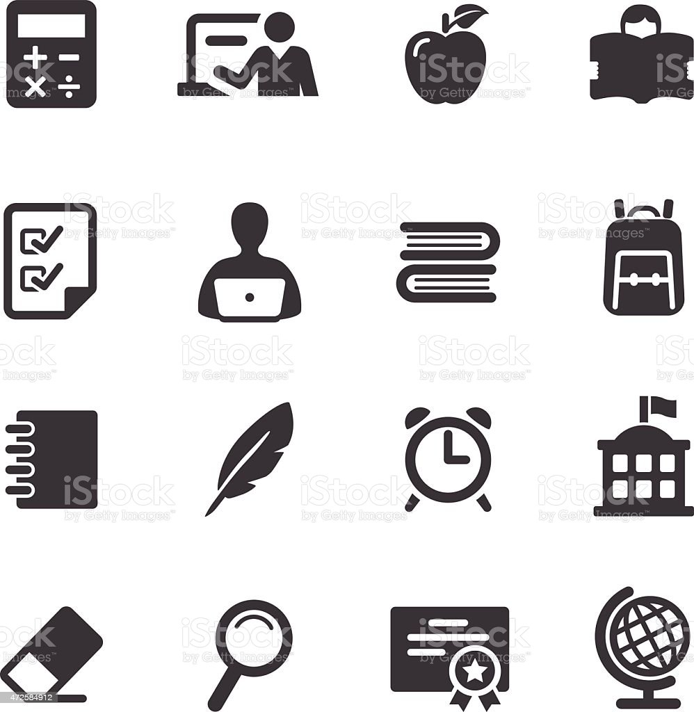 Set Of Simple Black And White Education Icons Stock Vector