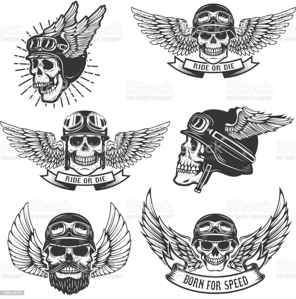Set Of Skulls In Winged Motorcycle Helmets Design Elements