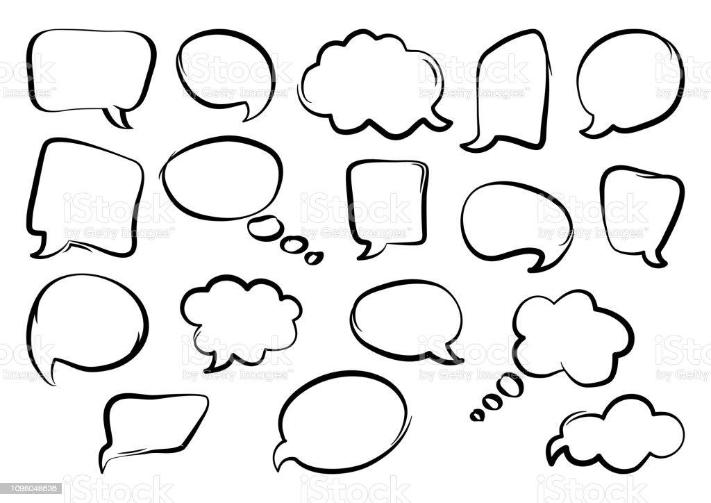 Set Of Speech Bubbles Hand Drawn Outline Design Vector