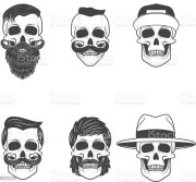 set of skulls with hairstyle