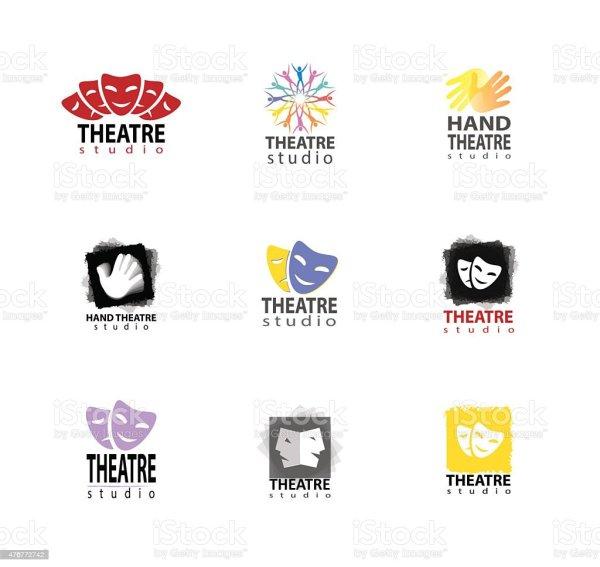 Set Of Theatre Studio Logo Design Stock Vector Art &