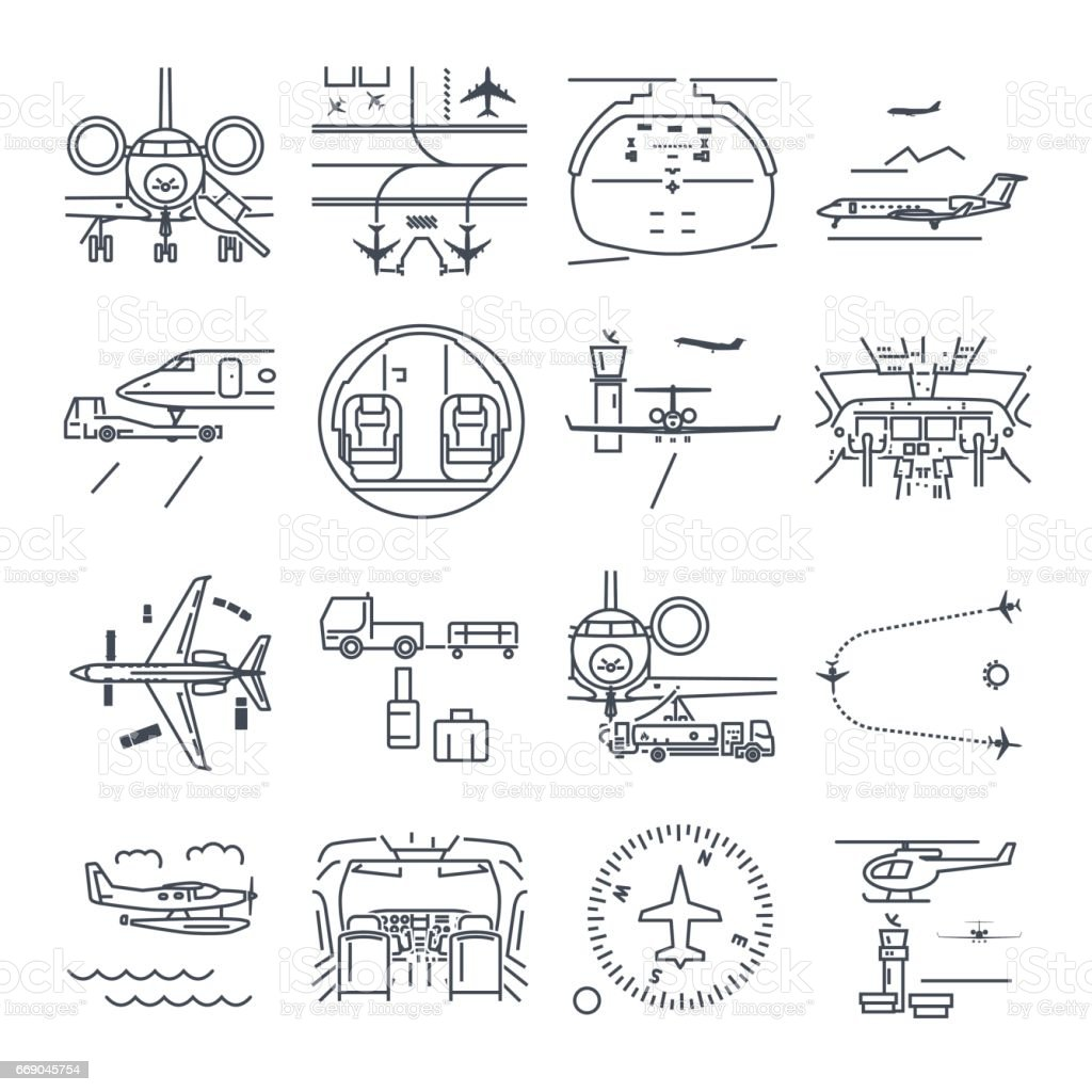 Set Of Thin Line Icons Airport And Airplane Business