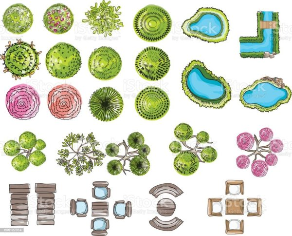 set of tree top symbols architectural