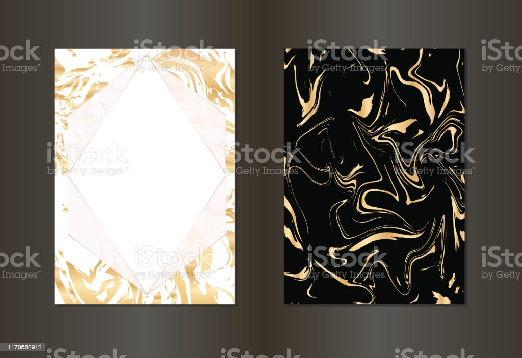 set of vector elegant black and gold invitation card background stock illustration download image now istock