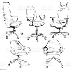 Office Chair Illustration Modern Stackable Chairs Set Isolated On White Background Sketch