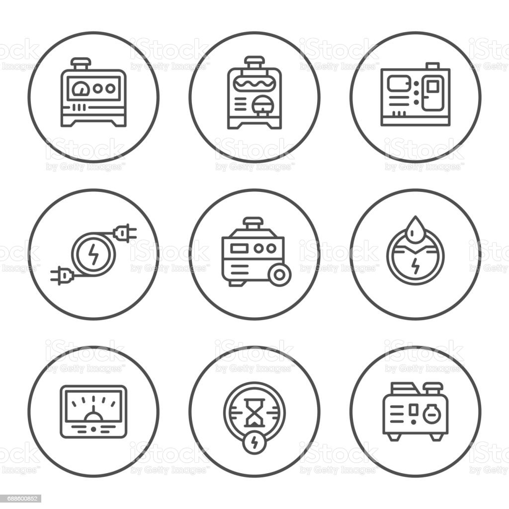 Set Round Line Icons Of Electrical Generator Stock Vector