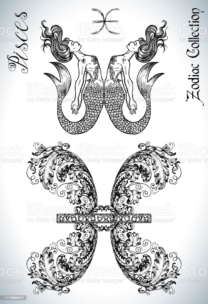 Pisces Sign Drawing : pisces, drawing, Pisces, Zodiac, Mascot, Drawing, Stock, Illustration, Download, Image, IStock