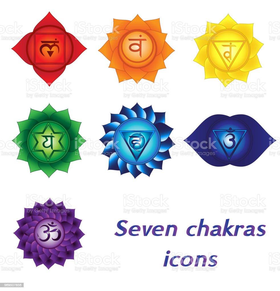 Ilustración De Siete Iconos De Chakras Espiritual Colorido Tatuajes
