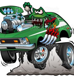 seventies green hot rod funny car cartoon vector illustration royalty free seventies green hot rod [ 1024 x 891 Pixel ]