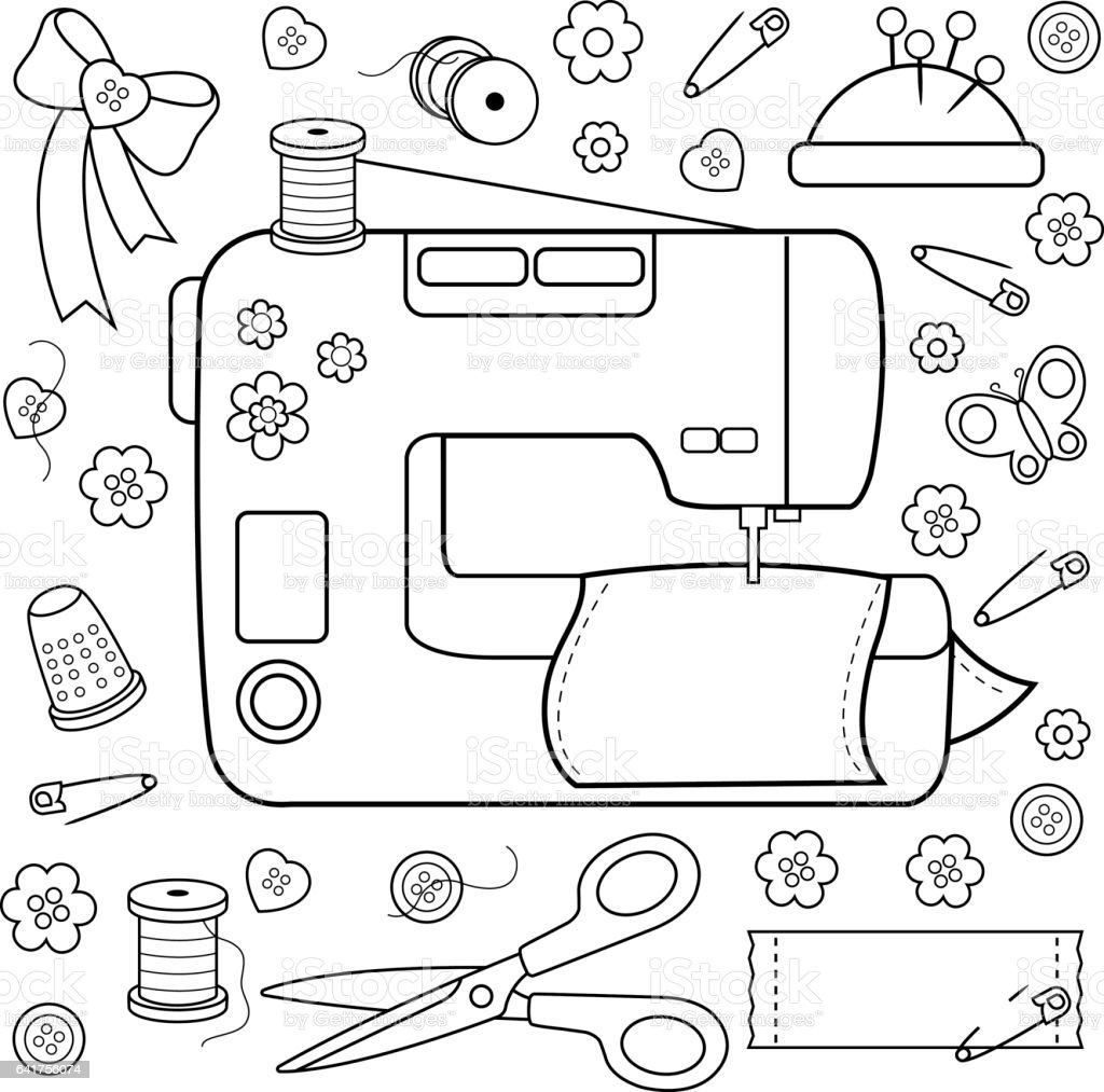 Sewing Project Tools And Equipment Coloring Book Page