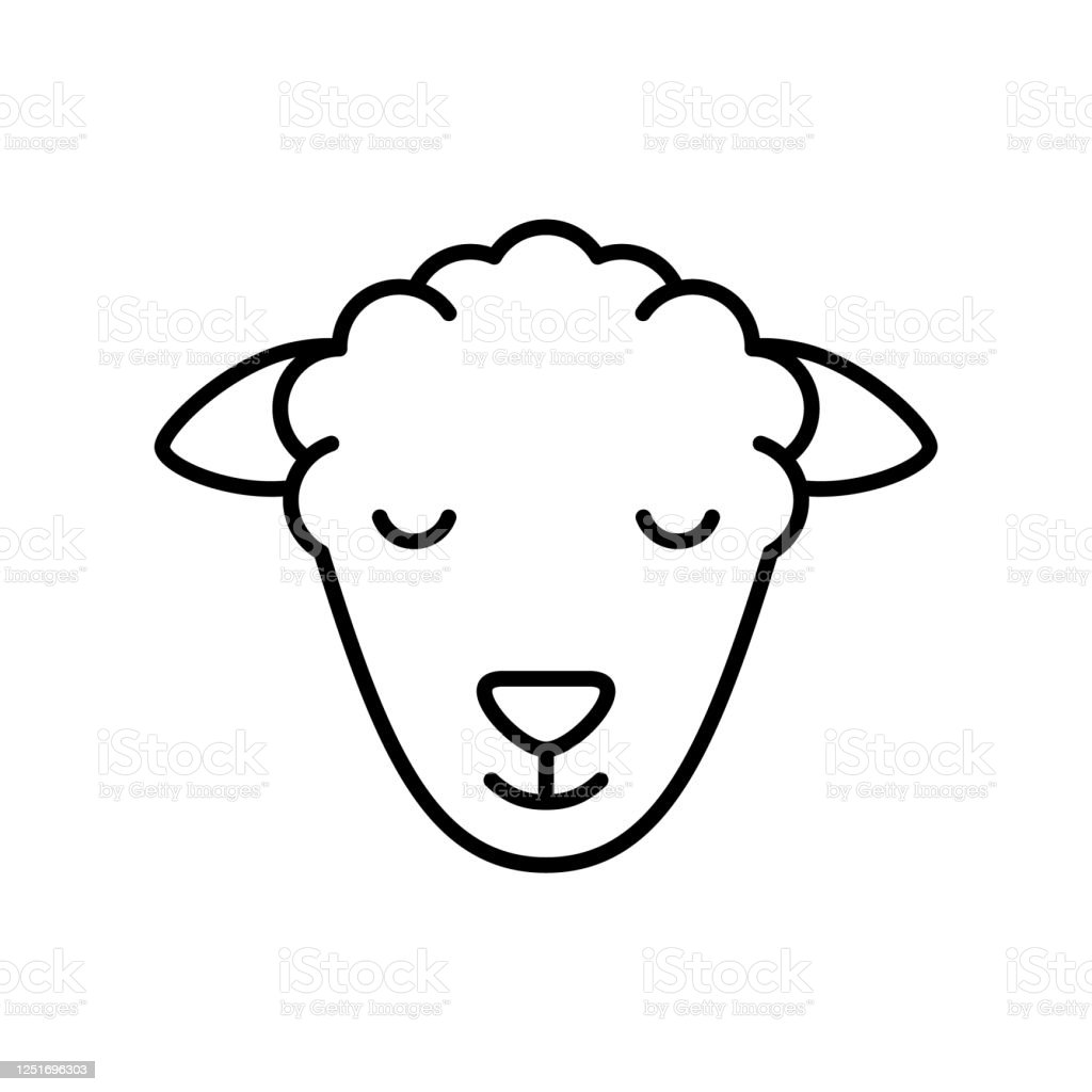 Sheep Or Ram Head Linear Livestock Icon Stock Illustration