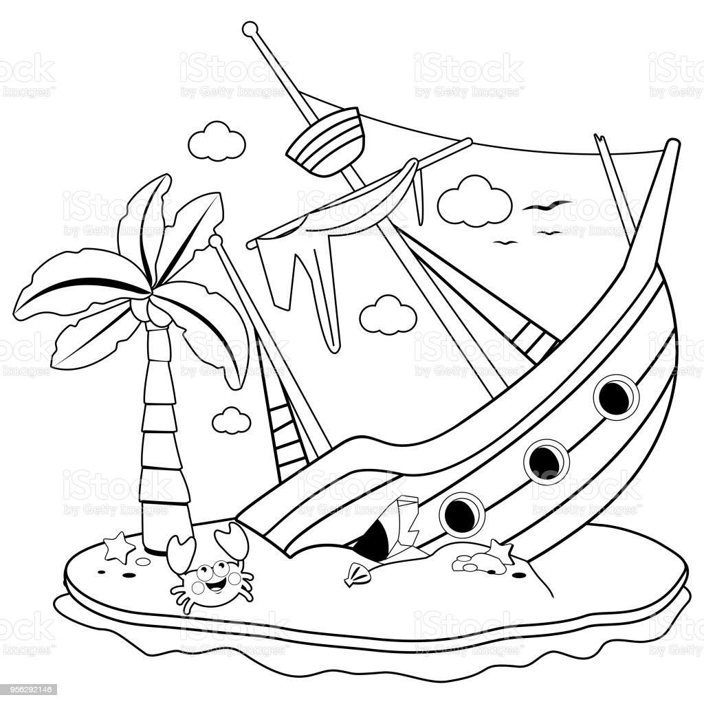 Shipwreck On An Island Black And White Coloring Book Page