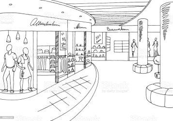 mall shopping sketch clipart vector interior clip centro graphic drawing illustrazione illustratie commerciale schizzo illustrations winkelcomplex zwarte grafische binnenlandse schets
