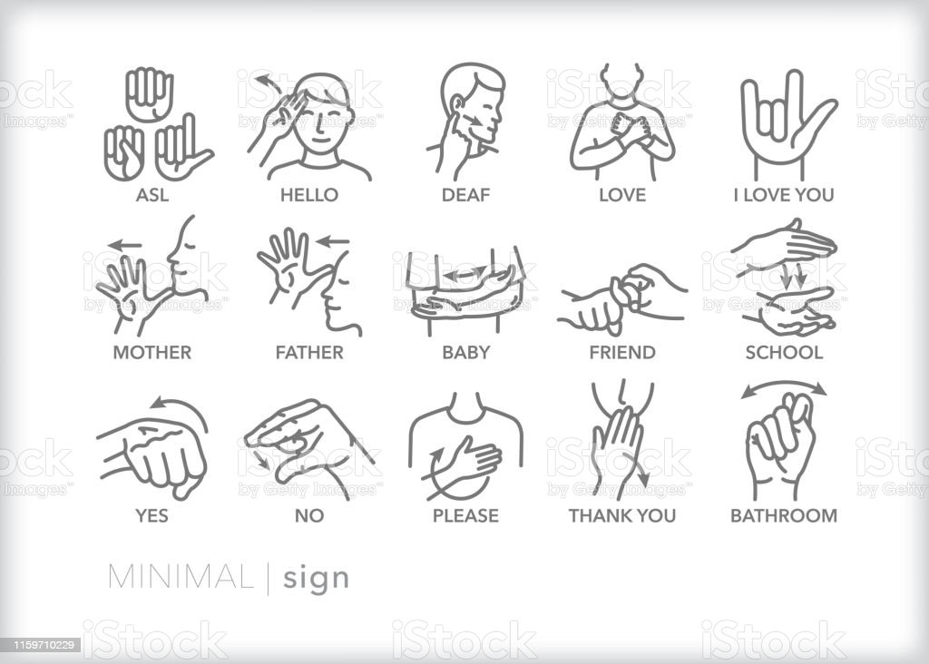 Sign Language Line Icons For Common Words And Phrases