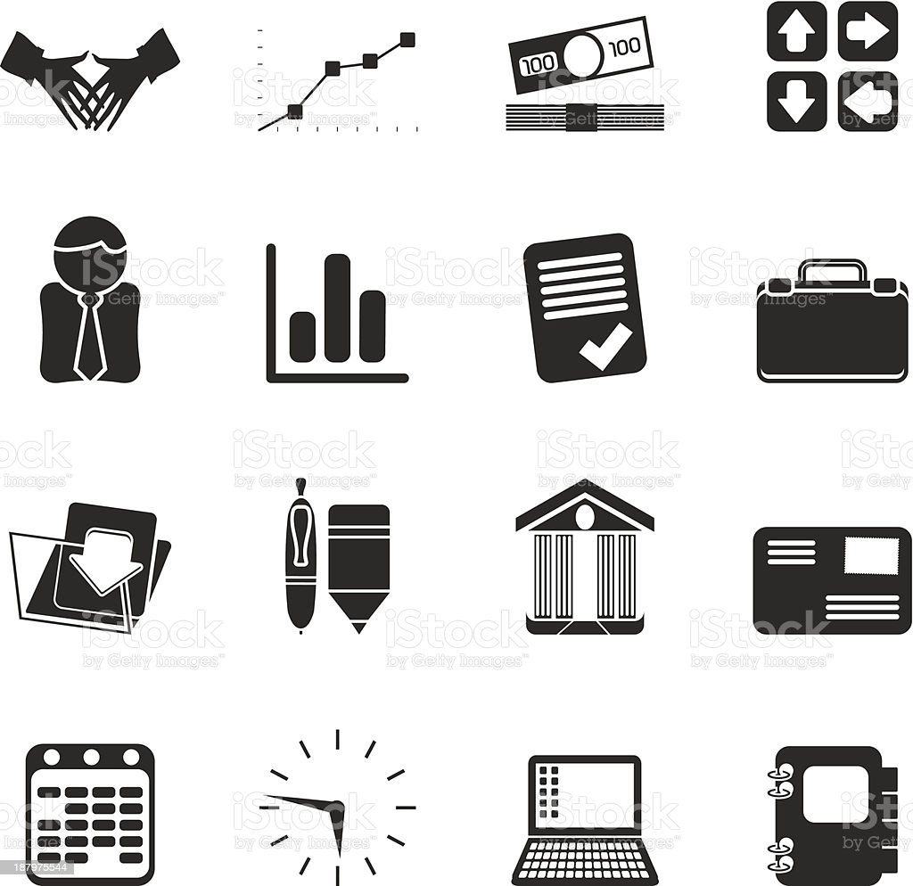 Silhouette Business And Office Icons Stock Illustration
