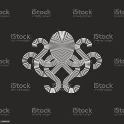octopus mockup seafood monogram emblem silhouette restaurant illustration animal vector ukraine element