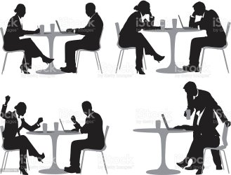 Silhouette Of Business Executives In A Restaurant Stock Illustration Download Image Now iStock