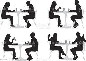 silhouette couple restaurant table vector talking istock illustrations illustration clip
