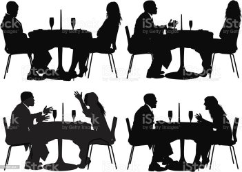 Silhouette Of Couple Sitting In A Restaurant Stock Illustration Download Image Now iStock