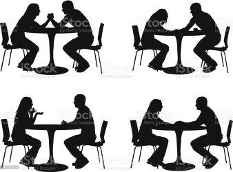 silhouette restaurant vector couples illustration istock adult embed