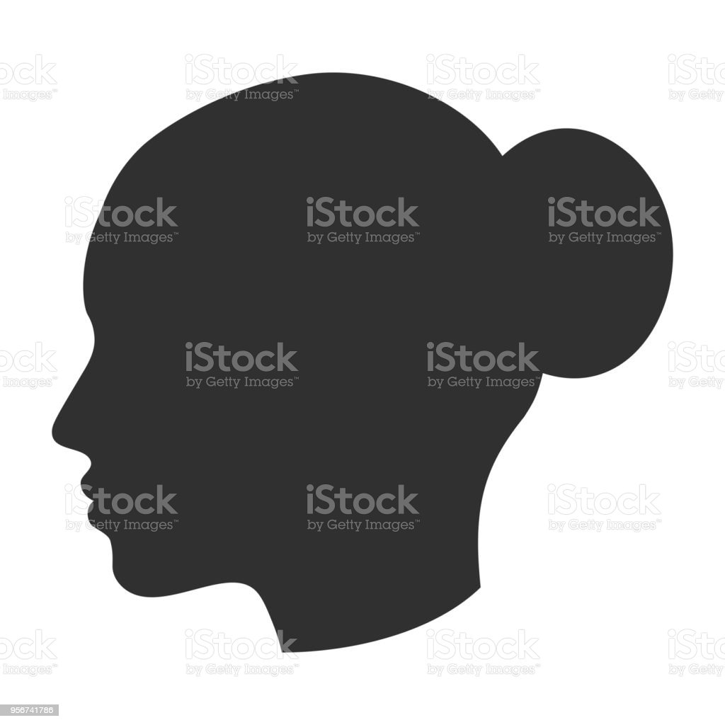 hight resolution of silhouette of female head woman face in profile side view royalty free silhouette