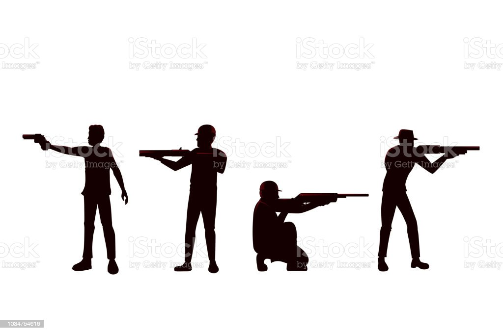 Silhouette Of Man Holding Gun In Difference Shooting