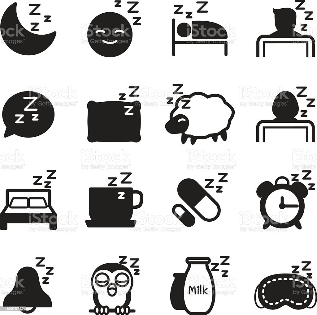 Silhouette Sleep Icons Set Stock Vector Art & More Images