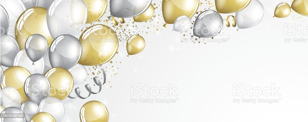 silver and gold balloons stock