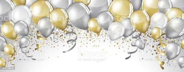 silberne und goldene luftballons