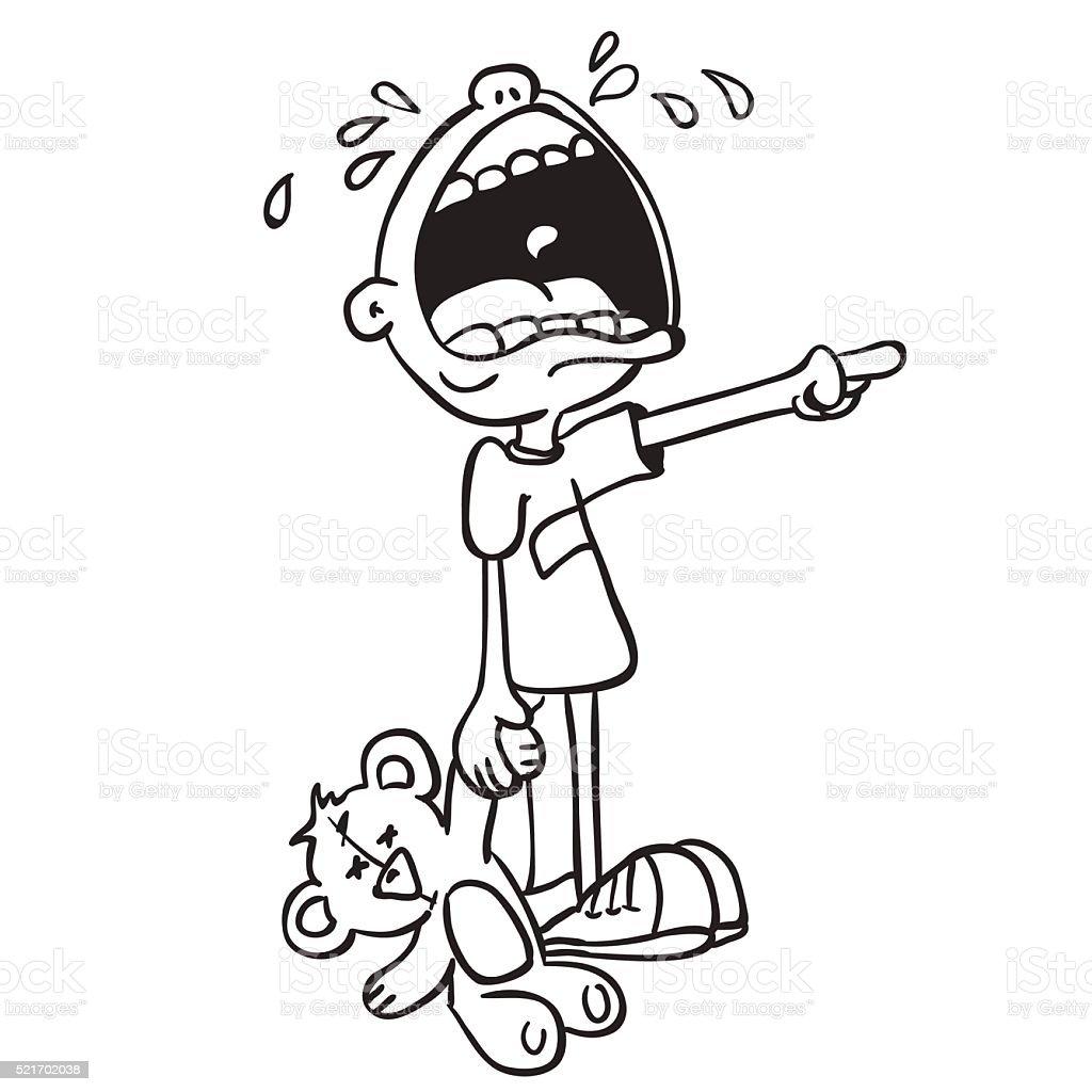 https www istockphoto com fr vectoriel simple noir et blanc de pleurer petit gar c3 a7on avec ours jouet gm521702038 91448589