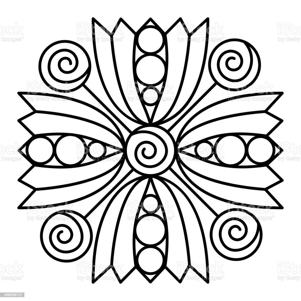 Simple Black And White Floral Mandala Shape Stock