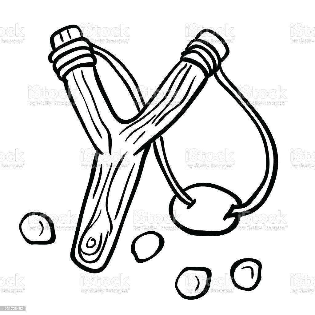 Simple Black And White Slingshot Stock Illustration
